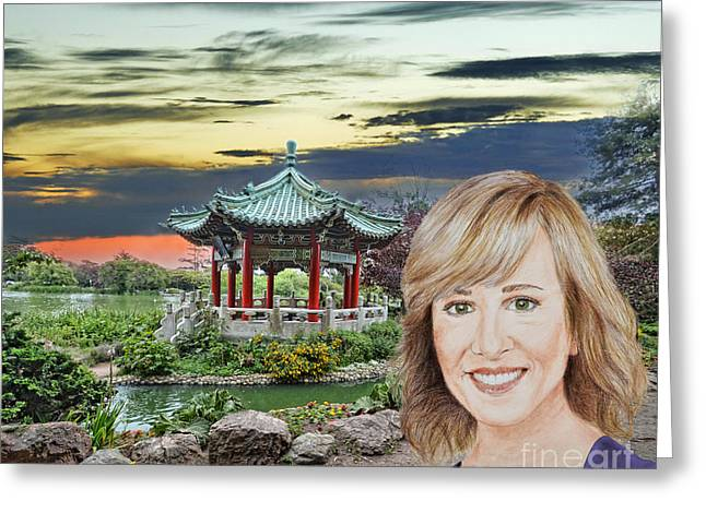 Portrait Of Jamie Colby By The Pagoda In Golden Gate Park Greeting Card by Jim Fitzpatrick
