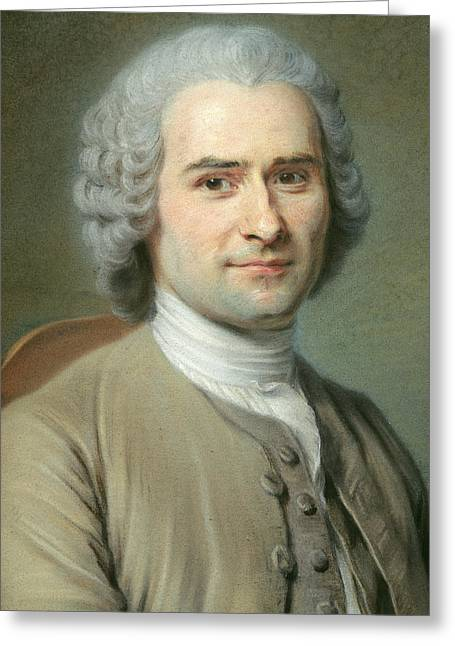 Portrait Of Jean Jacques Rousseau Greeting Card by Maurice Quentin de la Tour