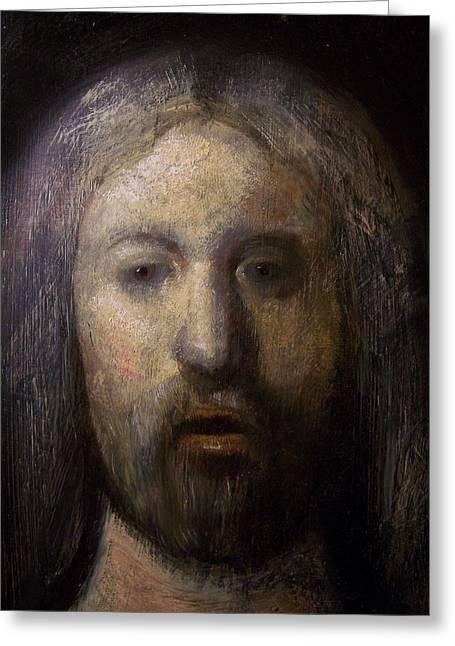 Portrait Of Jesus Christ Detail Greeting Card by Derek Van Derven