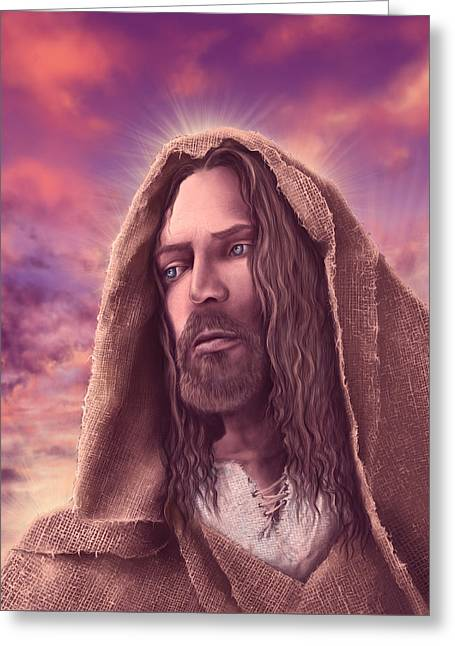 Portrait Of Jesus Greeting Card by Bekim Art