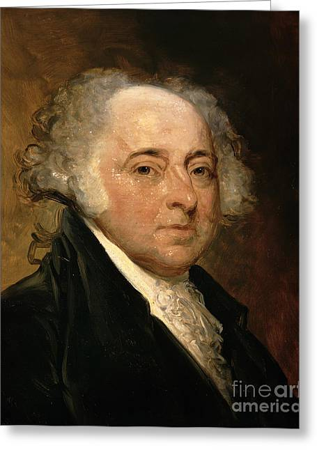 Sideburns Greeting Cards - Portrait of John Adams Greeting Card by Gilbert Stuart