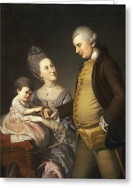 Portrait Of John And Elizabeth Lloyd Cadwalader And Their Daughter Anne Greeting Card by Charles Willson Peale