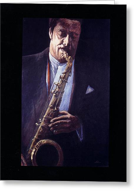 Portrait Of Johnny Griffin Greeting Card by James LeGros