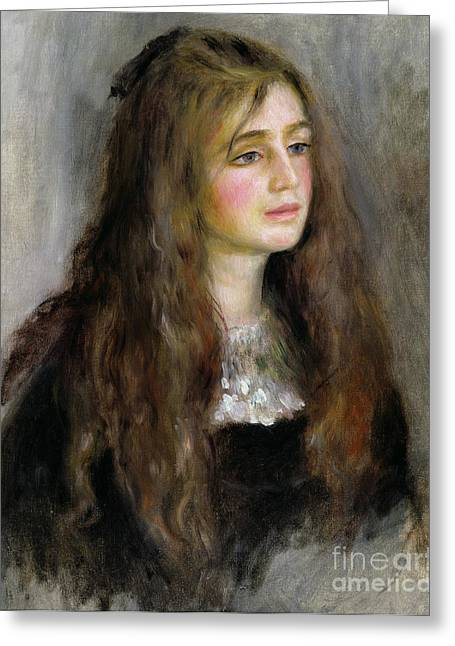Portrait Of Julie Manet  Greeting Card by Pierre Auguste Renoir