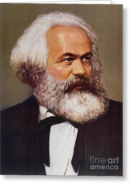 Left Greeting Cards - Portrait of Karl Marx Greeting Card by Unknown