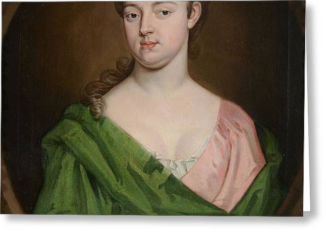 Portrait Of Lady In Green Greeting Card by MotionAge Designs