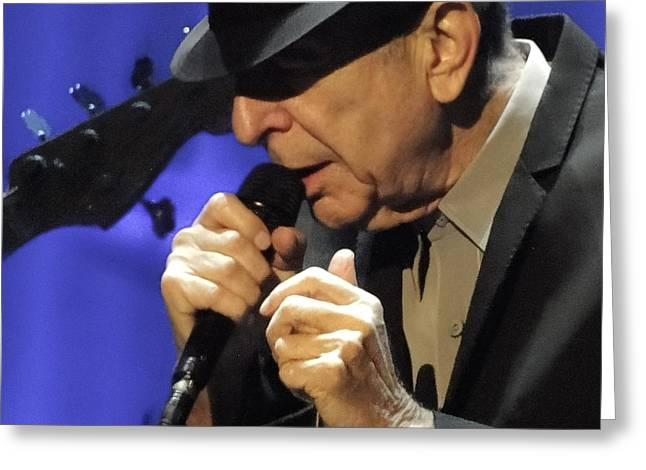 Portrait Of Leonard Cohen In Concert Greeting Card