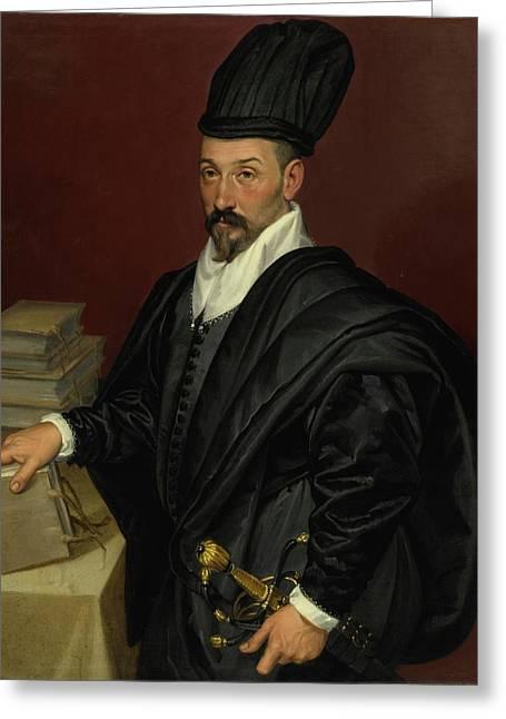 Portrait Of Lope Varona Di Villanahue Of Burgos Greeting Card