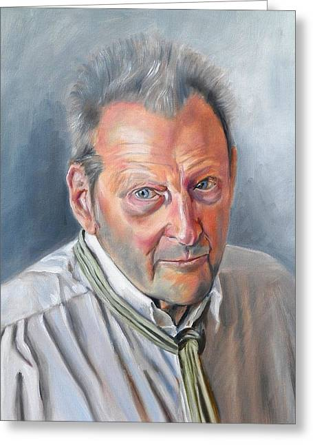Portrait Of Lucian Freud Greeting Card by RB McGrath