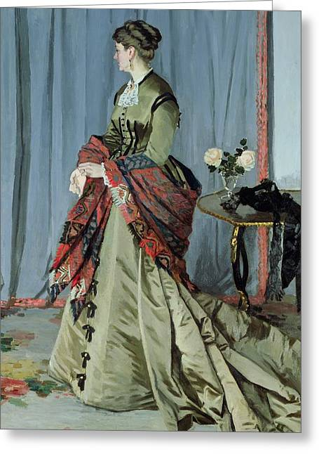 Portrait Of Madame Louis Joachim Gaudibert Greeting Card by Claude Monet