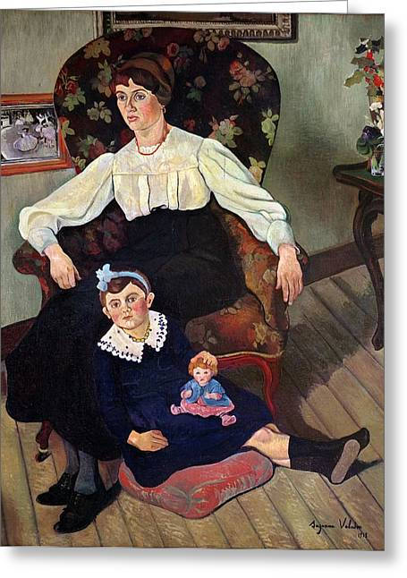 Portrait Of Marie Coca And Her Daughter Greeting Card by Marie Clementine Valadon