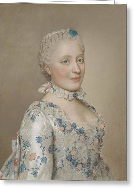 Portrait Of Marie Josephe Of Saxony 1731-67, Dauphine Of France, Jean-etienne Liotard, 1749 Greeting Card