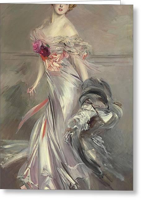 Portrait Of Marthe Regnier Greeting Card by Giovanni Boldini