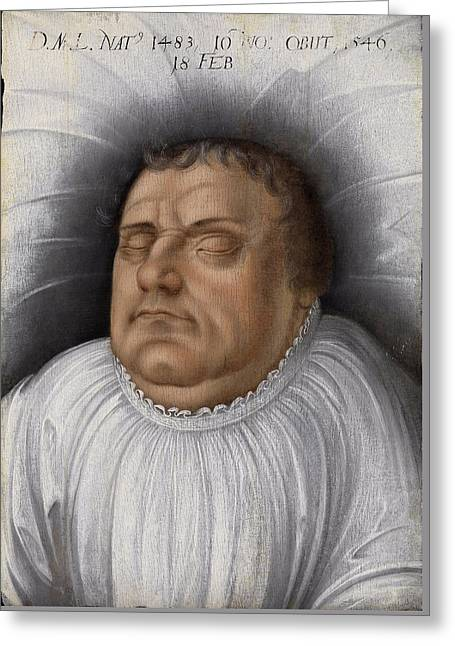 Portrait Of Martin Luther On His Death-bed Greeting Card