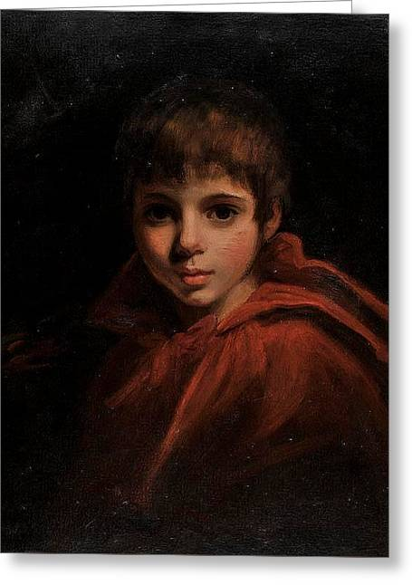 Portrait Of Miss Reynolds As Red Riding Hood Greeting Card
