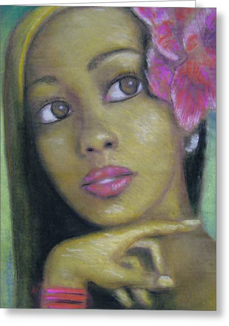 Portrait Of Monica Greeting Card by Jan Gilmore
