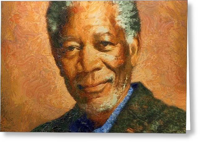 Portrait Of Morgan Freeman Greeting Card
