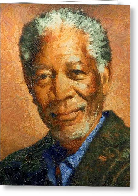 Portrait Of Morgan Freeman Greeting Card