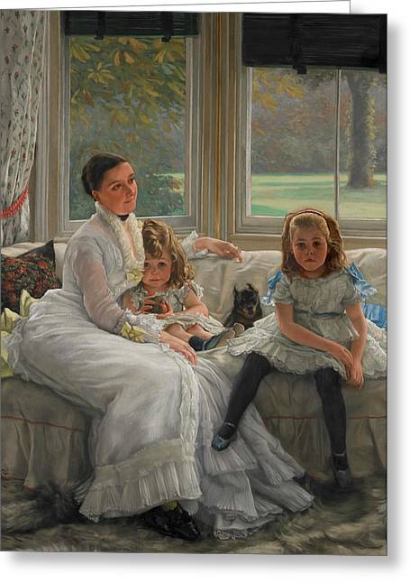 Portrait Of Mrs Catherine Smith Gill And Two Of Her Children Greeting Card by James Tissot