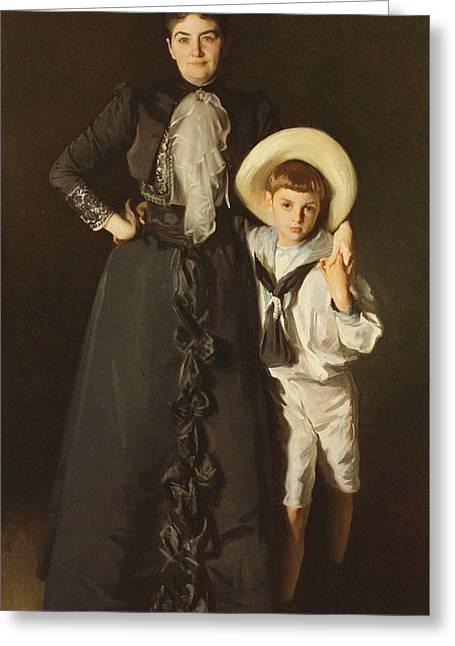 Portrait Of Mrs Edward L Davis And Her Son, Livingston Davis, 1890 Greeting Card by John Singer Sargent