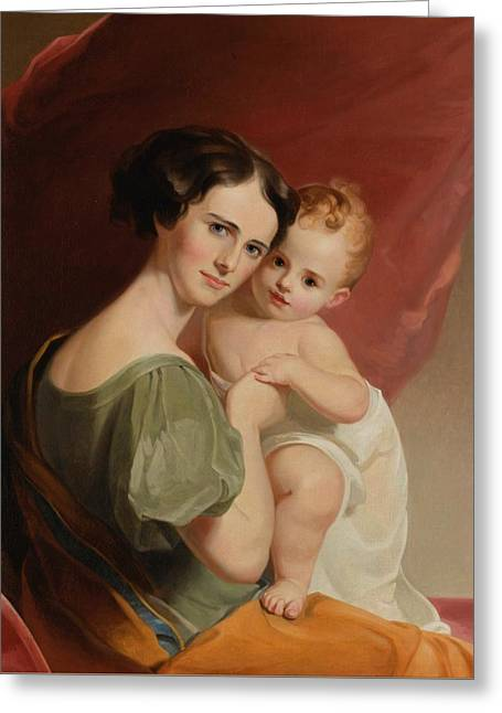 Portrait Of Mrs Greeting Card by Thomas Sully