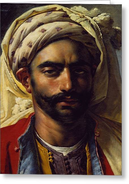 Girodet De Roucy-trioson; Anne Louis (1767-1824) Greeting Cards - Portrait of Mustapha Greeting Card by Anne Louis Girodet de Roucy-Trioson
