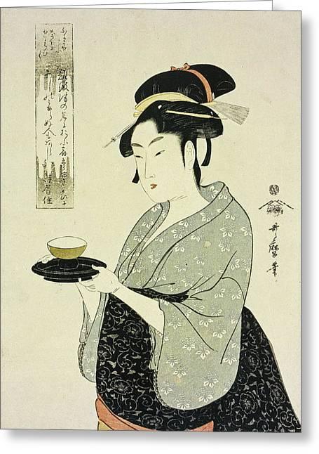 Portrait Of Naniwaya Okita Greeting Card by Kitagawa Utamaro