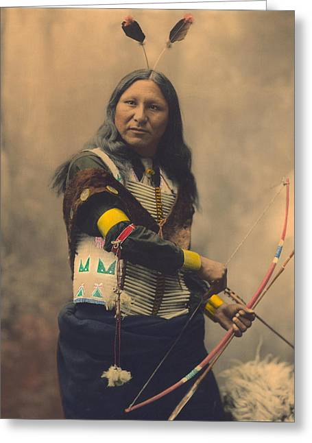 Portrait Of Oglala Sioux Shout Greeting Card