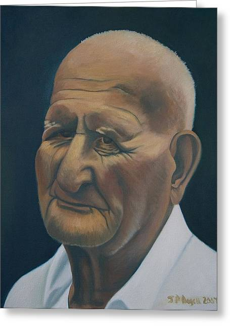 Portrait Of Old Man In St. Louis Greeting Card by Stephen Degan