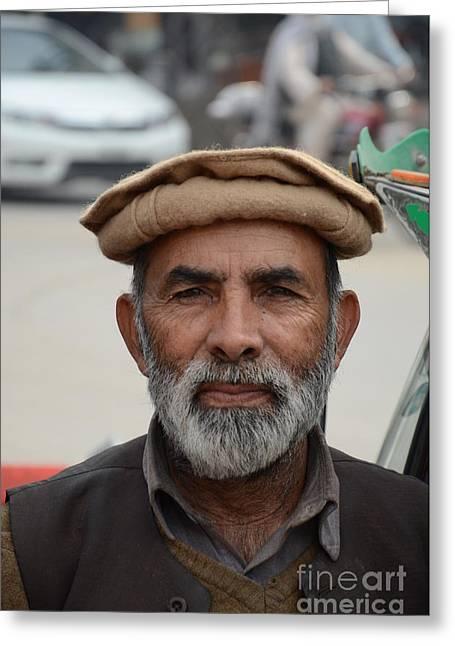 Portrait Of Pathan Tuk Tuk Rickshaw Driver Peshawar Pakistan Greeting Card by Imran Ahmed
