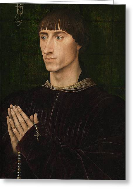 Portrait Of Philippe De Croy, Diptych, Right Wing Greeting Card
