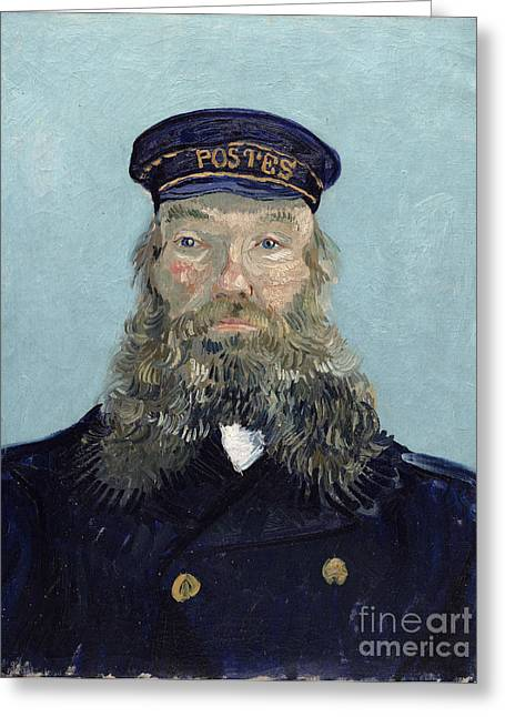 Beard Photographs Greeting Cards - Portrait of Postman Roulin Greeting Card by Vincent van Gogh