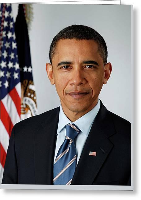 portrait of President Barack Obama Greeting Card by MotionAge Designs