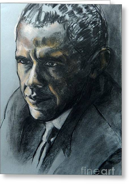 Charcoal Portrait Of President Obama Greeting Card