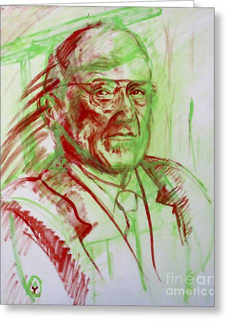 Portrait Of Prof Joshua Lederberg Greeting Card by Yael Avi-Yonah