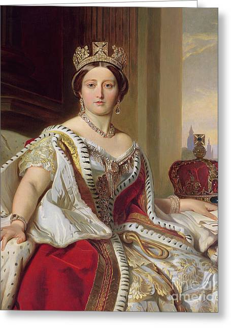 English Greeting Cards - Portrait of Queen Victoria Greeting Card by Franz Xavier Winterhalter
