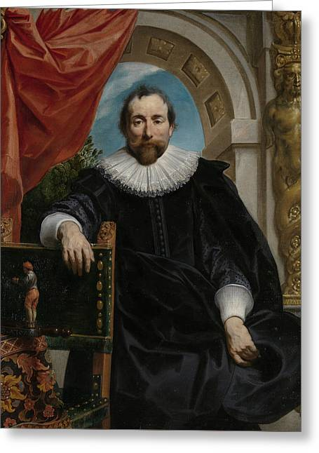 Portrait Of Rogier Le Witer Greeting Card by Jacob Jordaens