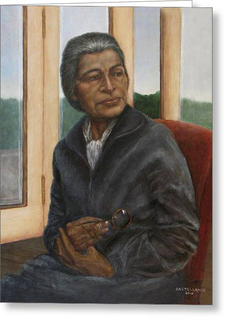 Portrait Of Rosa Parks Greeting Card by Sylvia Castellanos