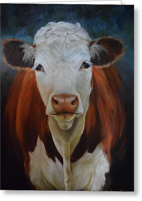Portrait Of Sally The Cow Greeting Card by Cheri Wollenberg