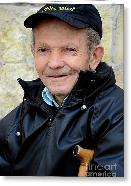 Portrait Of Serbian Senior Man With Cap Belgrade Serbia Greeting Card by Imran Ahmed