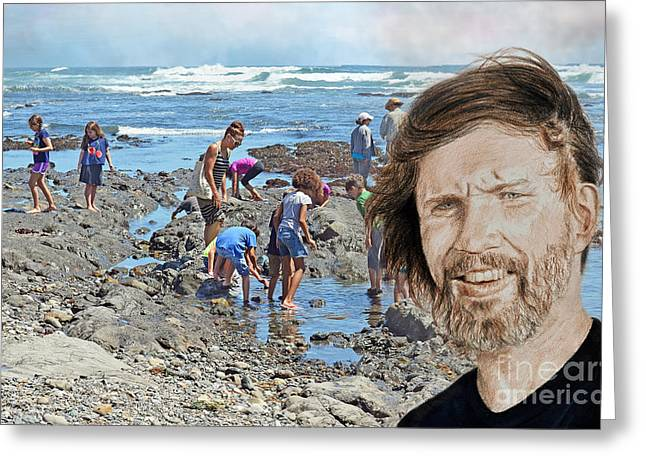 Portrait Of Singer, Songwriter, Musician And Actor Kris Kristofferson At The Beach Greeting Card by Jim Fitzpatrick