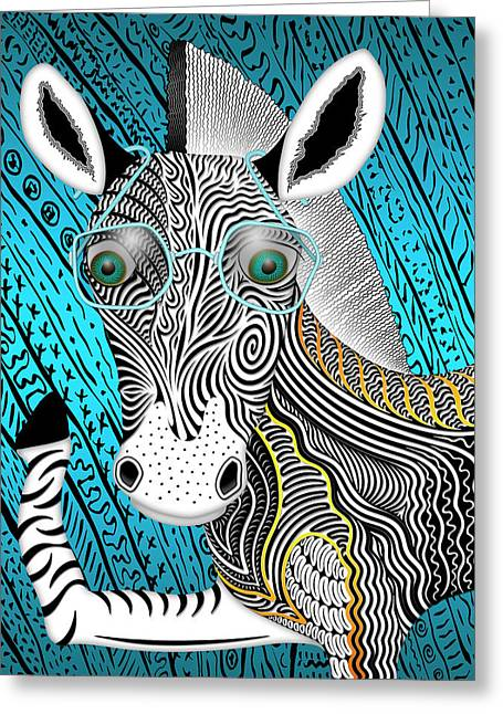 Portrait Of The Artist As A Young Zebra Greeting Card by Becky Titus