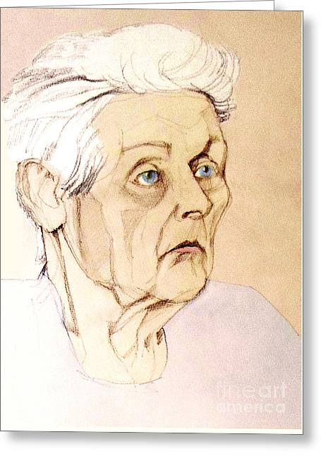 Pastel Colored Portrait Of An Old Lady Greeting Card by Greta Corens