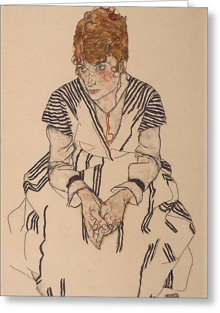 Portrait Of The Artist's Sister-in-law, Adele Harms, 1917 Greeting Card by Egon Schiele
