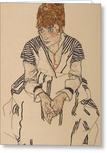 Portrait Of The Artist's Sister-in-law, Adele Harms Greeting Card by Egon Schiele