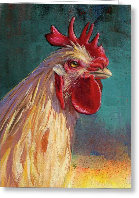 Portrait Of The Chicken As A Young Cockerel Greeting Card