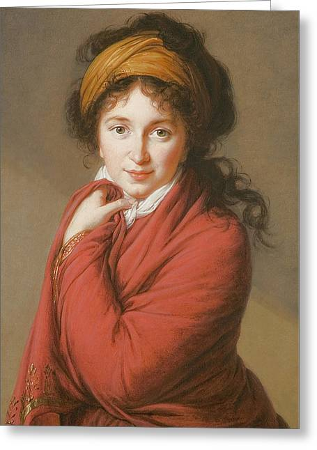 Portrait Of The Countess Nikolai Nikolaevich Golovin Greeting Card by Elisabeth Louise Vigee-Lebrun