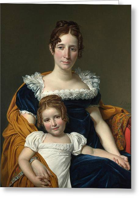 Portrait Of The Countess Vilain Xiiii And Her Daughter Louise Greeting Card by Jacques-Louis David