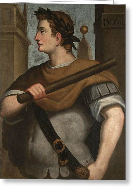 Portrait Of The Emperor Domitian Half Length Wearing A Laurel Wreath And Holding A Baton Greeting Card by Follower of Bernardino Campi