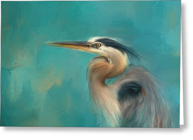 Portrait Of The Heron Greeting Card by Jai Johnson